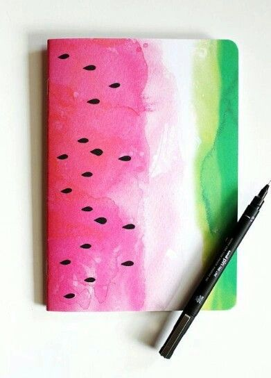 DIY Watermelon notebook - back to school. You need only notebook, water colours…: