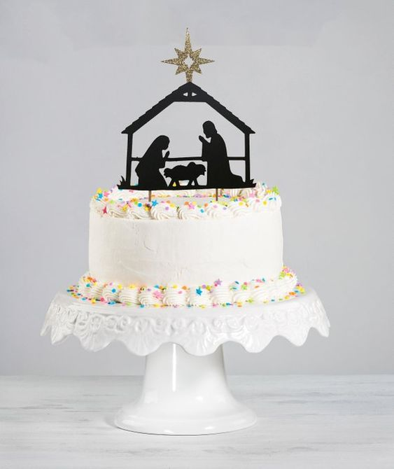 Happy Birthday Jesus Cake Topper | Nativity | Manager | Christmas Cake Topper | Mary and Joseph | Ba