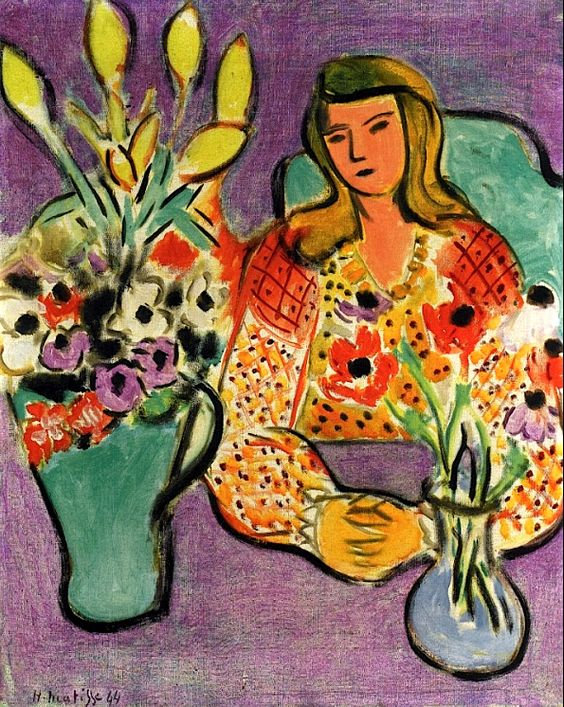 Young Girl with Anemones on a Purple Background / Henri Matisse - 1944: