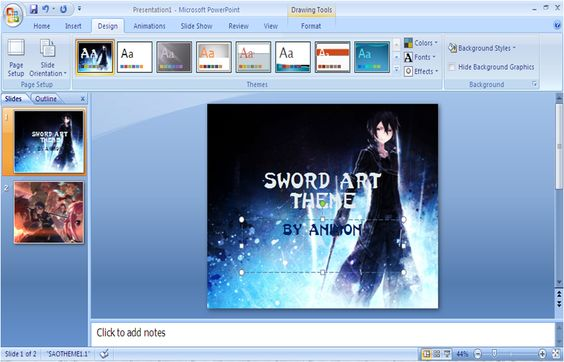 Power Point Themes: Sword Art Online Power point Template