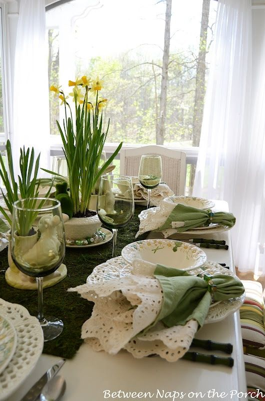 Green and white tablescape for Easter or Spring