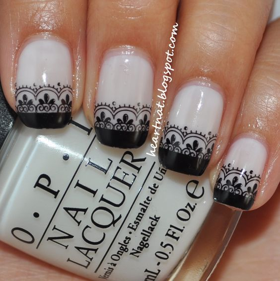 OPI Don't Touch My Tutu with OPI Black Onyx tips; stamp Konad M57 in Konad Black