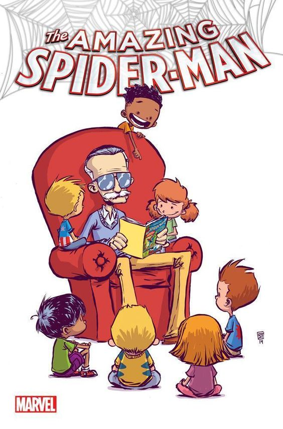 Stan Lee cameo! The Amazing Spider Man Skottie Young Variant.   This artwork is interesting to me because it is a depiction of a living legend, Stan Lee, doing what made him legendary, which is storytelling. Also, I consider Skottie Young to be a legend in the making and am a big fan of his artwork. He has amazing line work and his childish depictions give comics an entirely different feel. - Visit to grab an amazing super hero shirt now on sale!