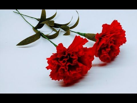How To Make Crepe Paper Flowers Red Carnations Flower 236 Youtube Bumazhnye Cvety Detskie Podelki Cvety