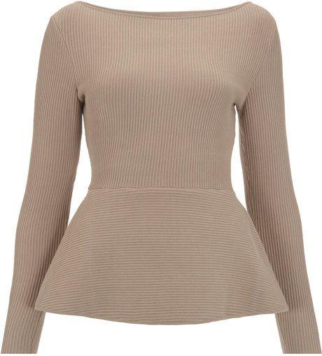 Beige Diane Knitted Peplum Top