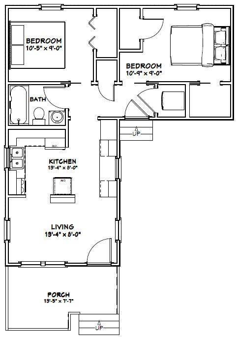 14x28 Tiny House 14X28H1F 521 sq ft Excellent Floor Plans