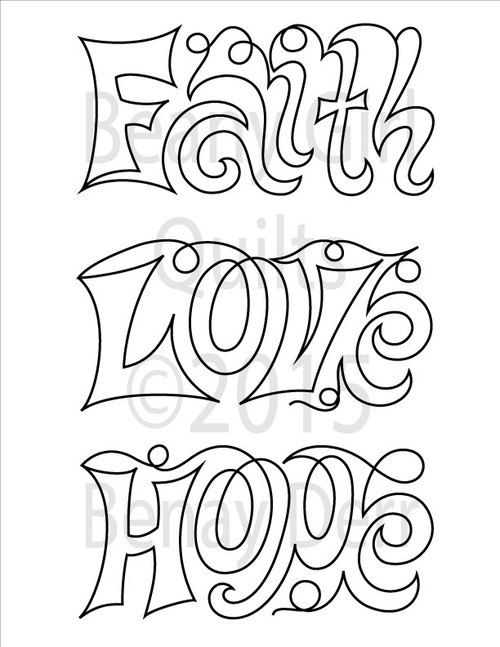 Hope Faith Love Panto Paper Version Love Coloring Pages Christmas Coloring Printables Free Machine Quilting Pattern