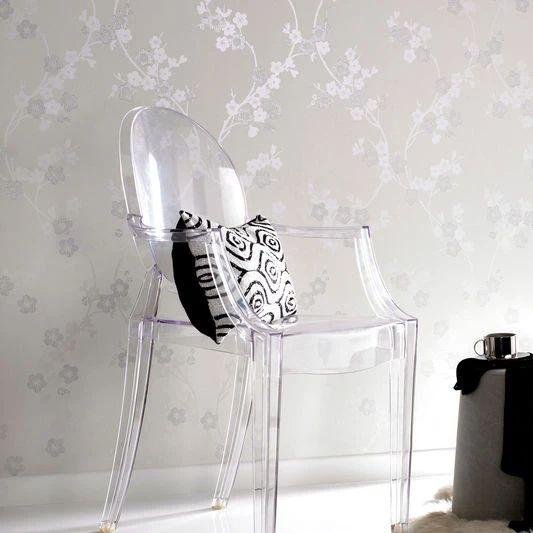 Cherry Blossom Wallpaper In White Mica By Graham Brown Burke Decor Cherry Blossom Wallpaper Silver Wallpaper Living Room Silver Wallpaper