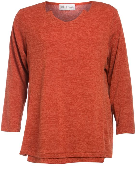 Sweater with cut-out neckline in Orange / Mottled designed by D Celli to find in Category Shirts & Blouses at navabi.de