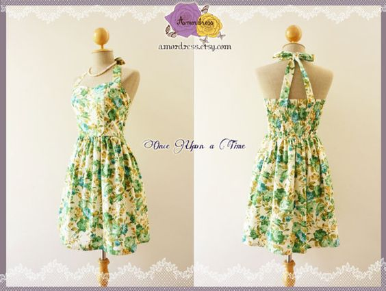 Sweet Floral Dress Emerald Green Rose Romantic Dress by Amordress, $45.00