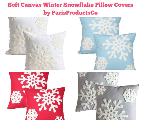 Soft Canvas Winter Snowflake Pillow Covers by ParisProductsCo