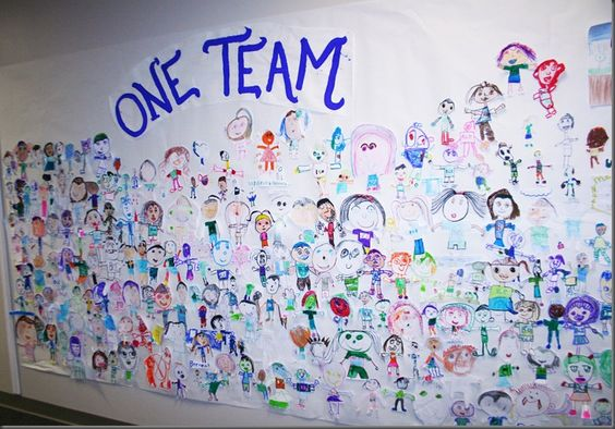 """Our School Theme of the Year is """"One Team, One Goal, No Limits. The first few weeks of school each grade worked on a drawing to make a large group mural to exemplify the theme. Here are the results. Below, kinder and first grade students made self portraits wearing blue and green (school colors) and holding something that represents them to show how we are all unique, but part of one big team!"""
