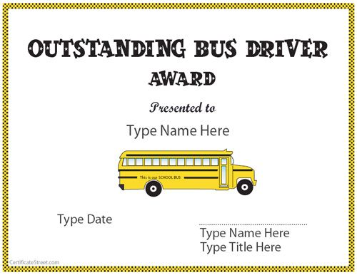 Free printable school bus driver appreciations - round-up - example of award certificate