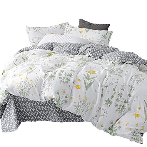 Clothknow Botanical Floral Duvet Cover Sets Full Queen White Yellow Fl Duvet Bedding Bed Duvet Covers Bed Linens Luxury