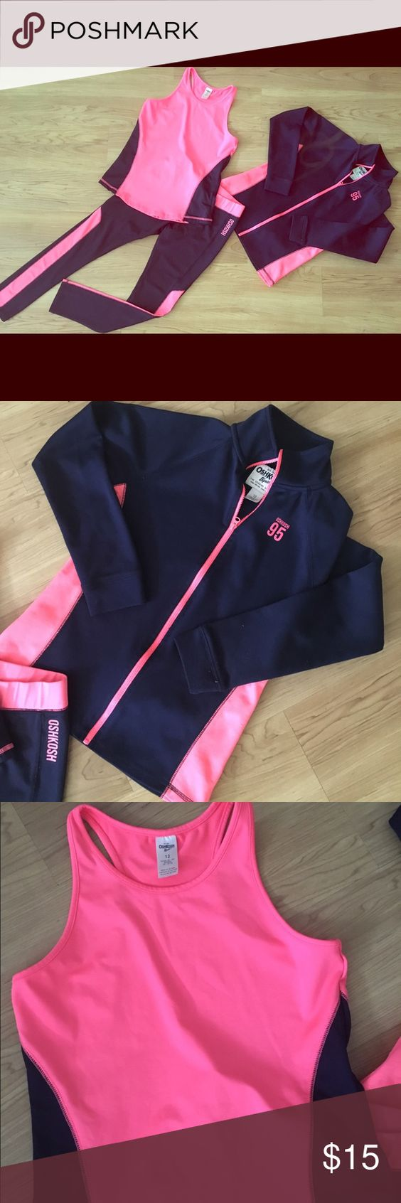 Oshkosh B'Gosh Girls 3 Piece Yoga Outfit Size 12 Super cute 3 piece athletic outfit Tank and pants are in great condition but jacket has quite a bit of wear, still cute though. Children's Size 12 Colors- Navy and Melon Oshkosh B'gosh Other
