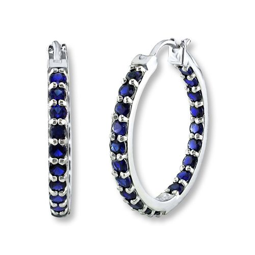 Hoop Earrings Lab-Created Sapphires Sterling Silver from Kay Jewelers on shop.CatalogSpree.com, your personal digital mall.