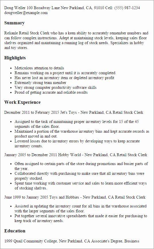 Stock Job Description Resume Best Of Retail Resume Templates To Impress Any Employer Resume Skills Professional Resume Samples Retail Resume Template
