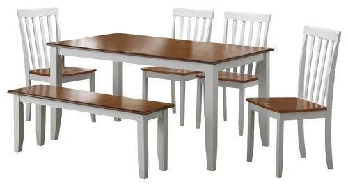 White//Honey Oak Boraam 22034 Bloomington 6-Piece Dining Room Set