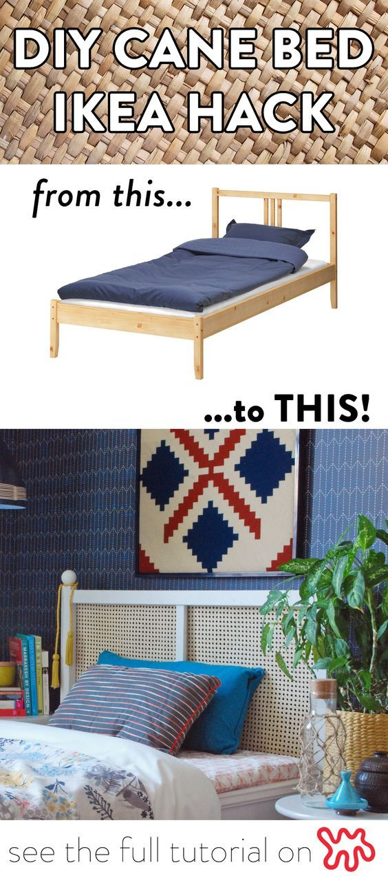 How To Seriously Upgrade A Basic 40 Ikea Fjellse Twin To A Beautiful Cane Bed Ikea Fjellse Ikea Bed Hack Cane Bed