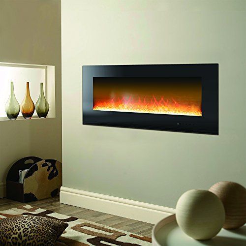 Cambridge 56 In Metropolitan Wall Mount Black With Crystal Rock Display Cambr56wmef 1b In 2020 Recessed Electric Fireplace Electric Fireplace Wall Electric Fireplace