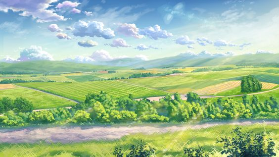 clouds grass landscape leaves nobody original scenic sky yuuko-san