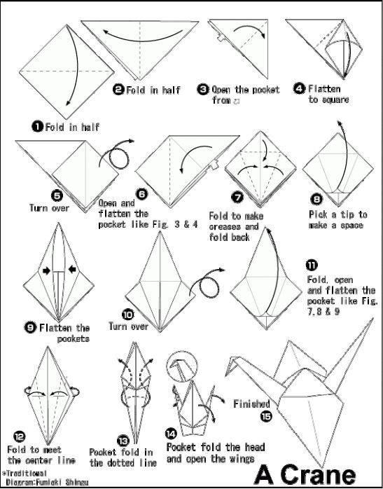 Easy origami kids: printable instructions for origami crane.