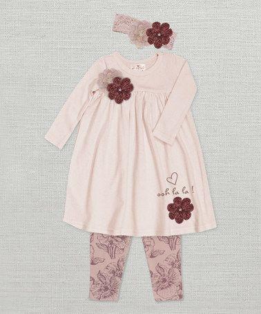 This Pale Mauve 'Ooh La La' Flower Dress Set - Infant by Truffles Ruffles is perfect! #zulilyfinds
