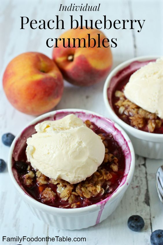 Individual peach blueberry crumbles - tastes like summer in a bowl! | FamilyFoodontheTable.com