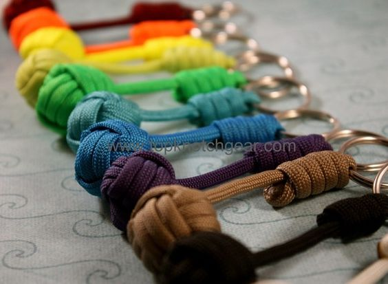Paracord Monkey Fist Knot key chains or zipper pulls. ME DO THE PART THATS NOT A MONKEY FIST FIRST