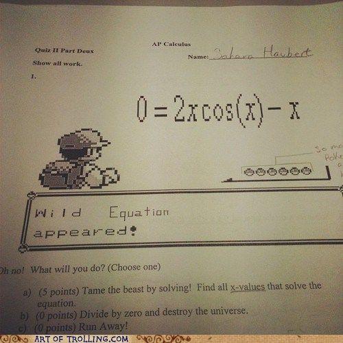 Best math problem on a test ever