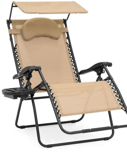 Oversized Zero Gravity Chair W Folding Canopy Shade Cup Holder Outdoor Recliner Patio Chairs Lounge Chair Outdoor