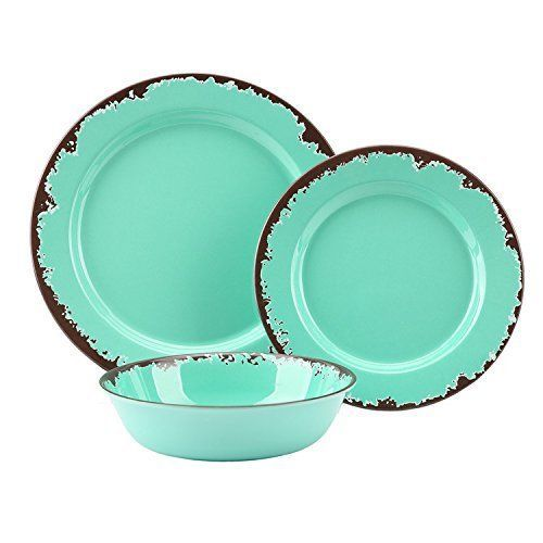 12 Pcs Bpa Free Dishwasher Safe Camping Rustic Melamine Dinnerware Set Plates Cups Bowls Melamine Dinnerware Sets Rustic Dinnerware Dinnerware Sets Rustic