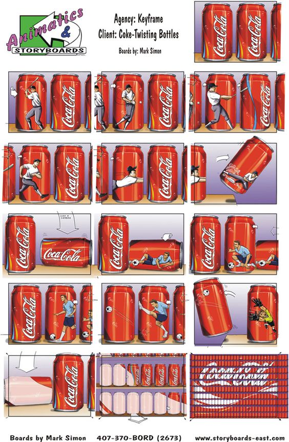 This Is A CocaCola Storyboard It Is Using The Can As A Canvas To