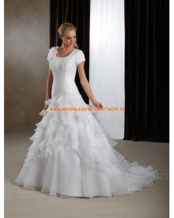 2013 Schönste Brautkleider aus Softnetz und Satin mit Ärmel und Schleppe