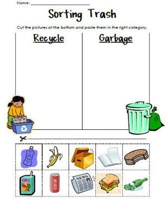 sorting trash earth day recycling activity earth day pinterest activities student. Black Bedroom Furniture Sets. Home Design Ideas