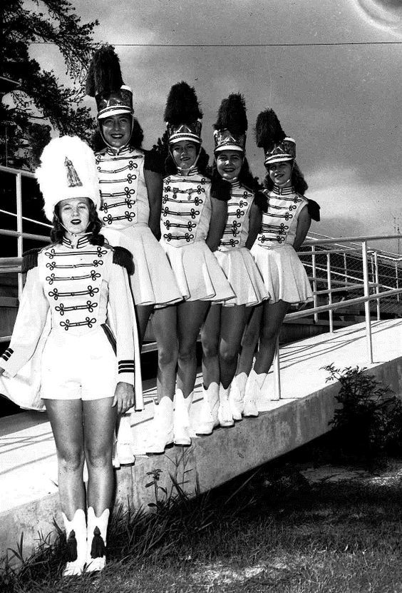 Majorettes Had uniforms just like the drum majors hotter than hades when football season started!!