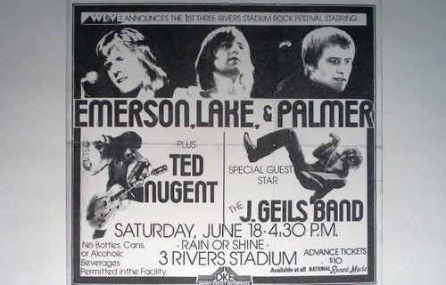 Emerson, Lake & Palmer Ted Nugent J. Geils Band Rare Concert Sheet Poster Print