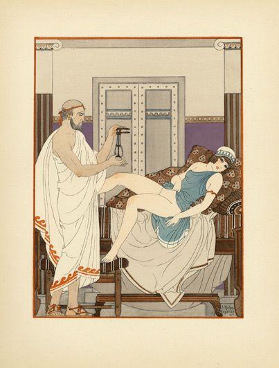 Joseph Kuhn-Régnier (1873 – 1940). Hippocrate I, Pochoir n°7, Dans les parties sexuelles, 1932. [Pinned 20-vii-2015]