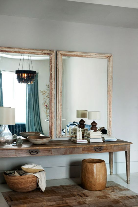 A loft in Soho via My World Apart. Spacious, calm, serene, natural textures and lightness imported with mirrors.