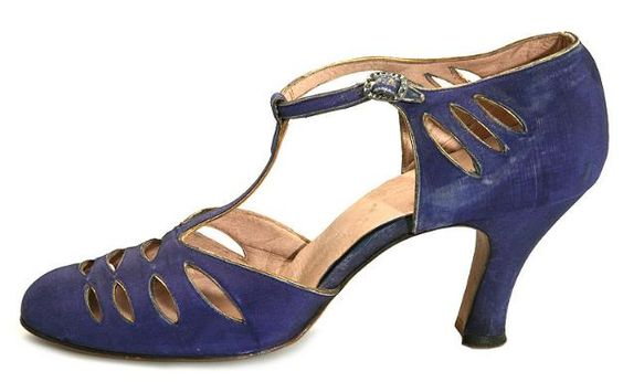 Salvatore Ferragamo shoes - 1920's - T-strap blue silk, decorated with cut-outs on the vamp and quarters - Shoe Icons