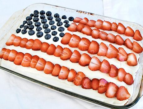 Flag cake ( reminds me of Fourth of July at my Grandparents.... There was always a flag cake!!!)