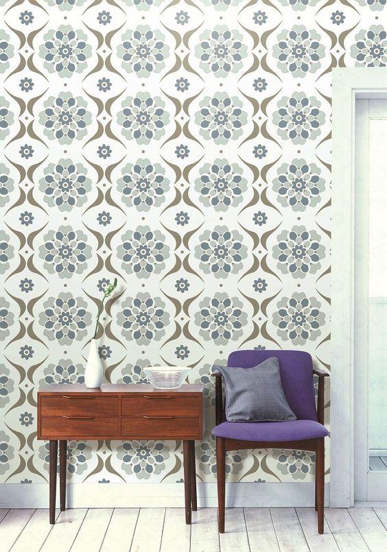 Our popular Layla Faye Flower Swirl wallpaper design in the  blue.