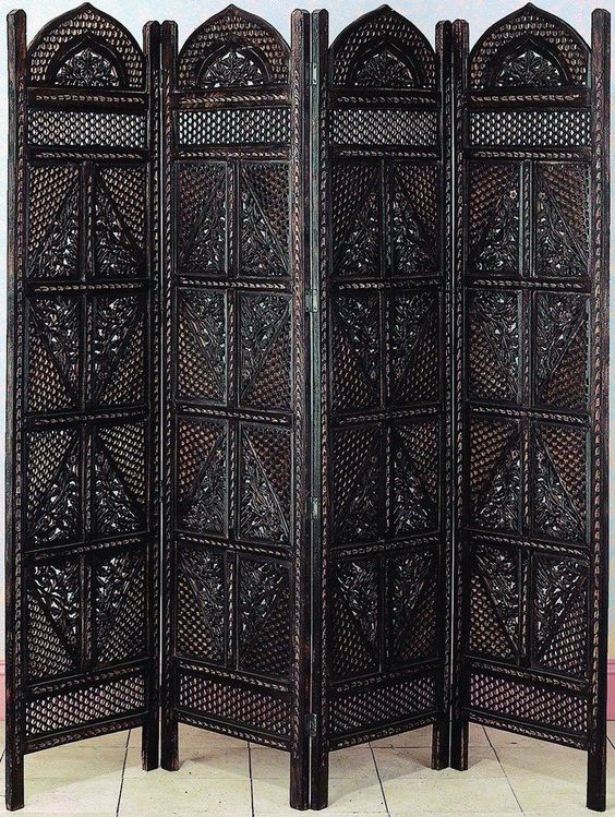 antiques wood room divider 4 panel hand carved screen home decor divider screens bombayjewel