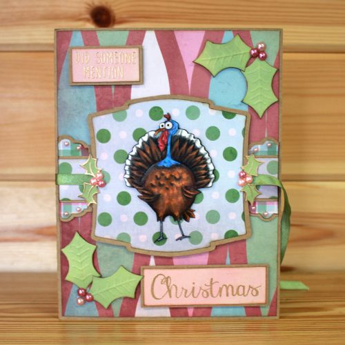 Christmas has arrived at Hobby Art! Introducing CS136D 'Daryl The Quirky Turkey' New Size A5 Clear set contains 22 stamps. Designed by Sharon Bennett. Overall size of set - 235mm x 155mm approx. Card by Sally Dodger: