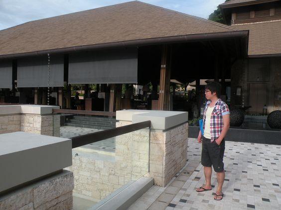 shangri-la hotel. Behind the lobby.  He's my husband.
