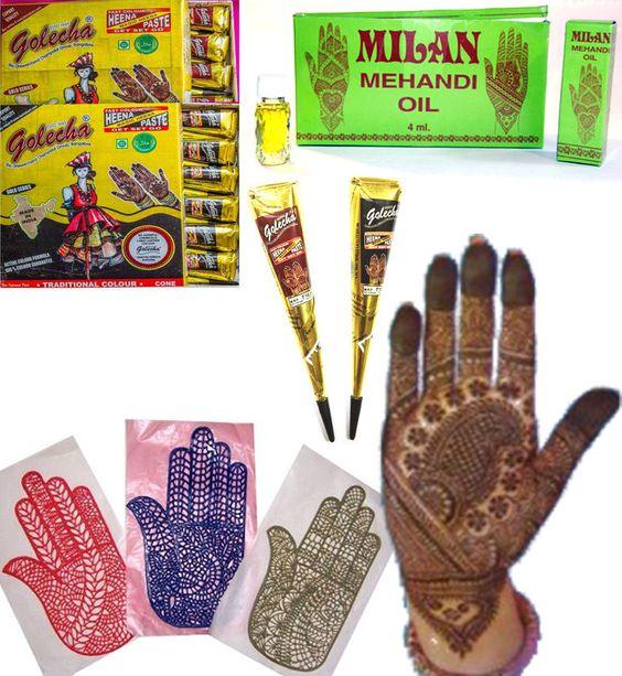 Henna-Set Mehandi Schablonen + Golecha Kegel Cone rot + schwarz á 25g + Öl 4 ml | eBay