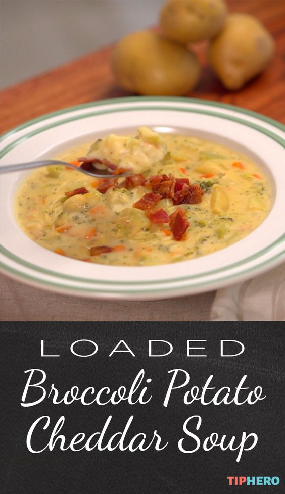 Sometimes you just need a good hearty soup to get you through the day and this one delivers! It's got onions, carrots, garlic, potatoes, broccoli heads, cheddar cheese and a dash of tabasco and bacon bits for good measure. Click for the full recipe.  #soups #stews #yum #yummyfood #goodeats #homecooking