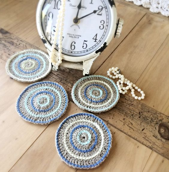 I love the circle design on these hemp coasters. I love the symmetry! I can customize them with any color circles. Each coaster is approximately