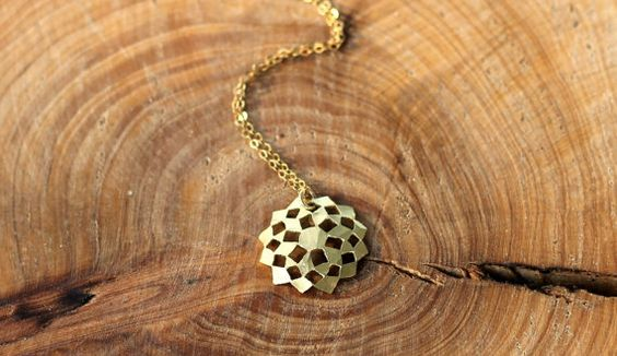 Gold Necklace Geometry Flower pendant Flower Of by TzufitMoshel