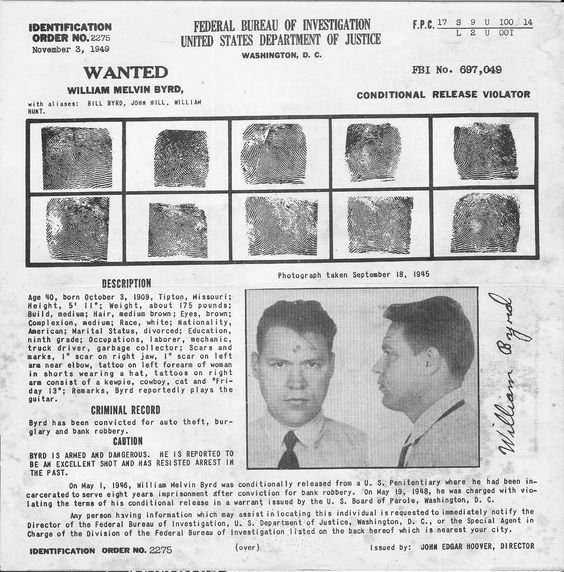 Wanted 1949 William Melvin Byrd